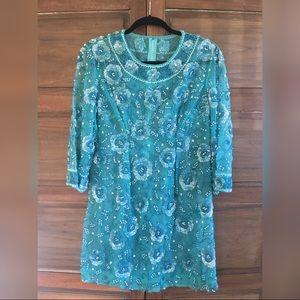 Blue vintage fully beaded shift dress